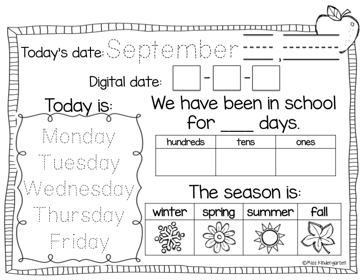 Kindergarten Calendar Activities : Calendar time using interactive notebooks