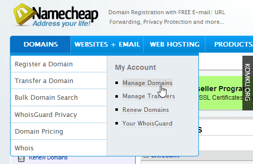 namecheap manage domain menu