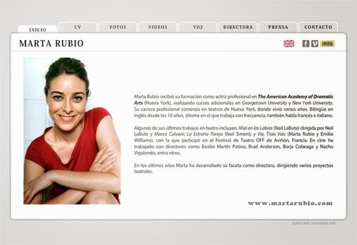 página web de la actriz Marta Rubio