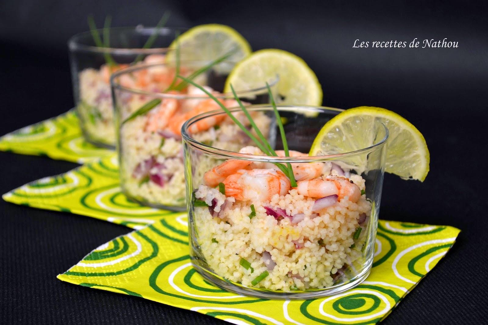 Verrines de taboul au crevettes citron vert et oignon rouge blogs de cuisine - Verrine sucree facile et rapide ...