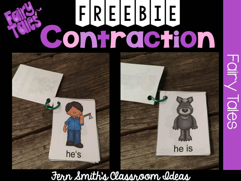 Fern smith's Classroom Ideas Fairy Tale Themed Contraction Center Game Cards at Classroom Freebies