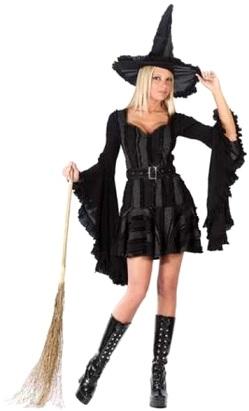 Foto de Disfraz de bruja con escoba para Halloween de color negro