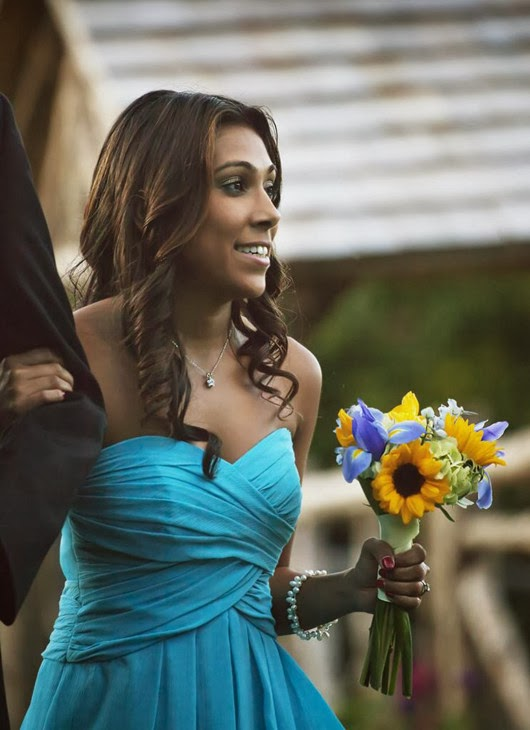 aqua wedding ideas attendant bouquet sunflower