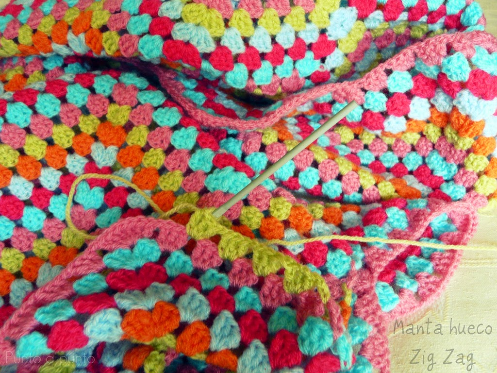 Entre lanas y tramas crochet la manta hueco zig zag - Manta de crochet facil ...