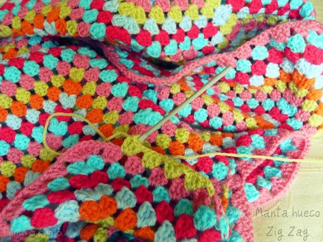 Entre lanas y tramas crochet la manta hueco zig zag - Mantas a crochet ...