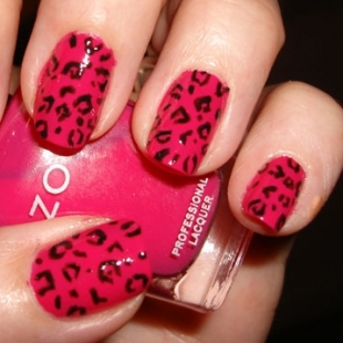 Hot Pink Nail Art with Black Patterns