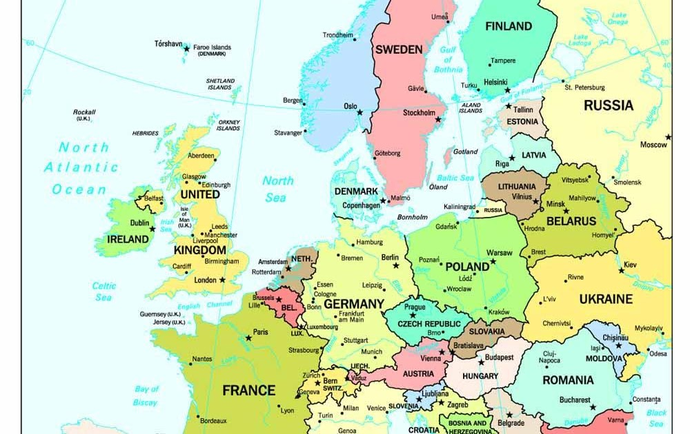 Online Maps: Europe map with capitals