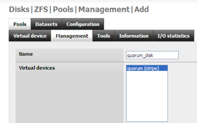 Freenas configuring iscsi disks extent target for Show zfs pool