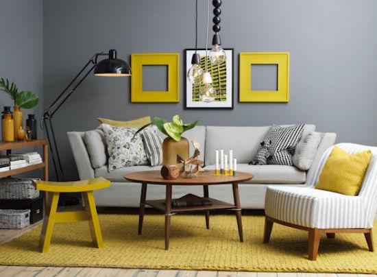 interni in giallo - architettura e design a roma - Decorare Con Pareti Grigie