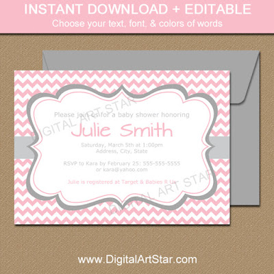 pink chevron baby shower printable invitation template