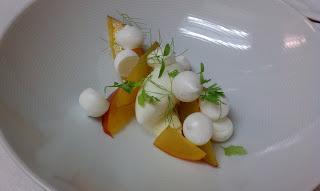 ... nectarines, vanilla bean meringues, lemon verbena ice cream