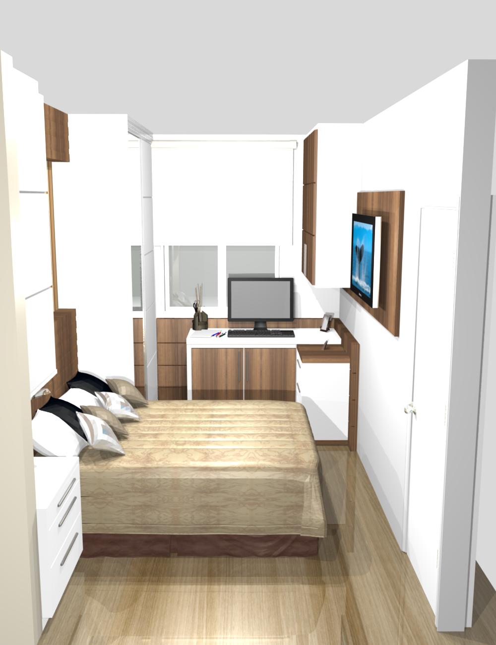 20170322094935 quarto casal pequeno com escritorio for Dormitorio para quarto pequeno