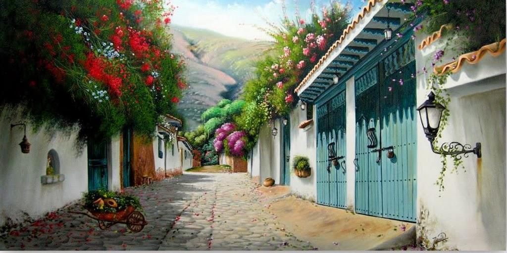 pueblos-pintados-al-oleo