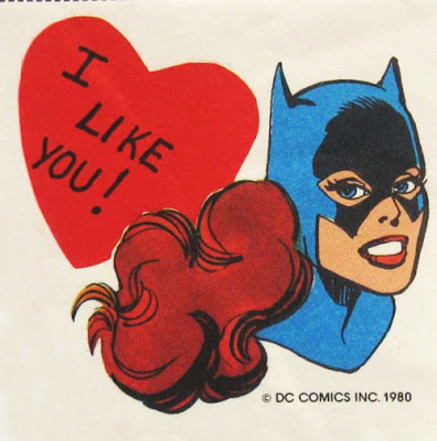 Batgirl Valentine's Day card from the 1980s