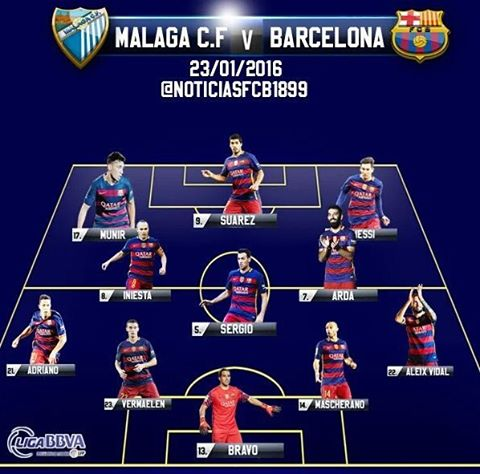 Barça starting 11 vs Malaga