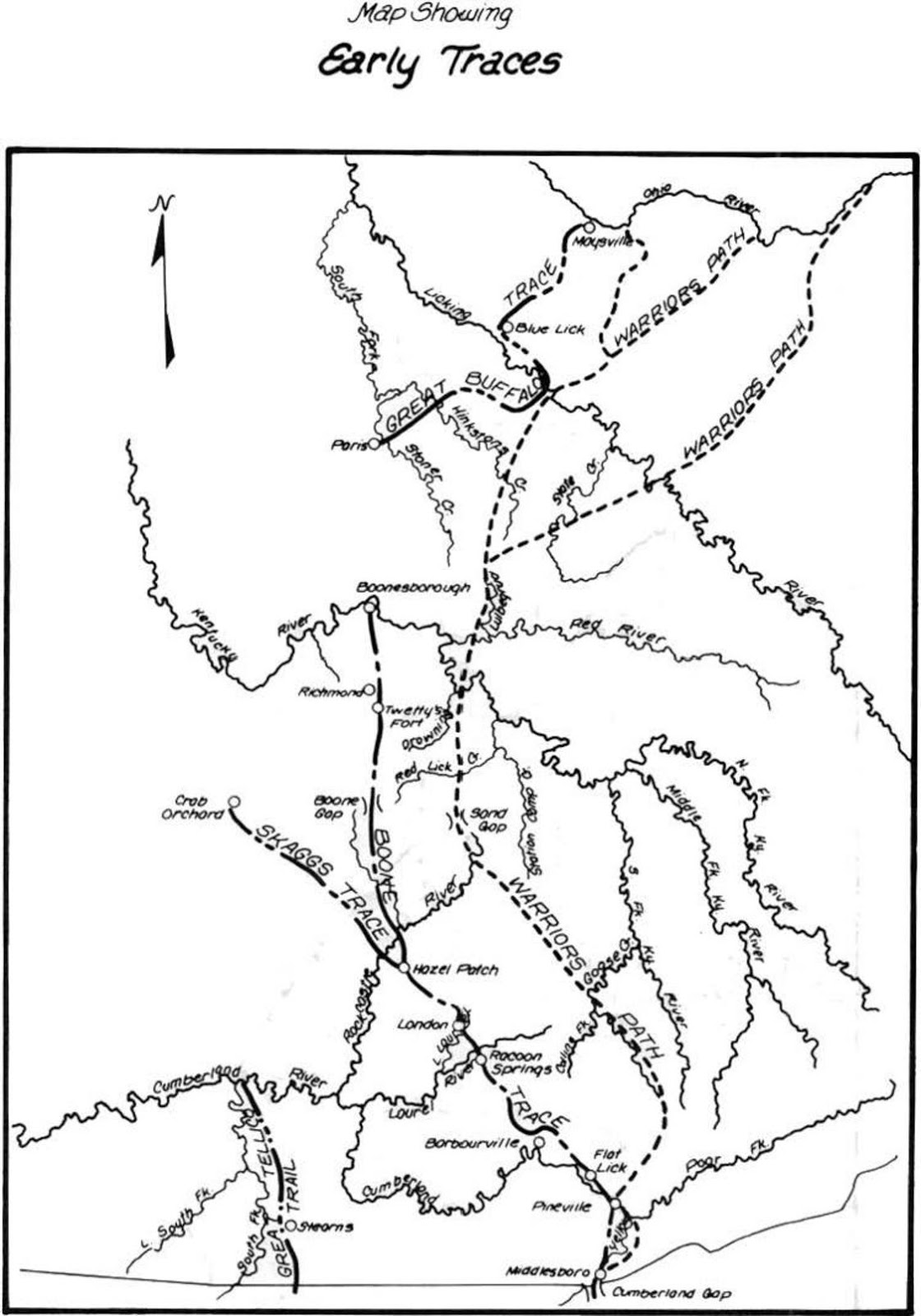 an early map of settler and native paths