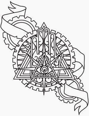 Eye of Providence biomechanical (steampunk) tattoo stencil