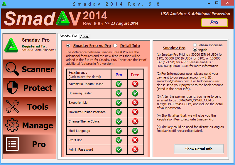 8 Nov 2014 Download Update terbaru Anti Virus SmadAV Pro Rev 9.8.1 full ver