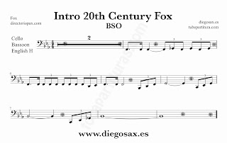 Partitura de la Sintonía de la 20th Century Fox para Violonchelo y Fagot by Alfred Newman Sheet Music for Cello and Bassoon Music Scores