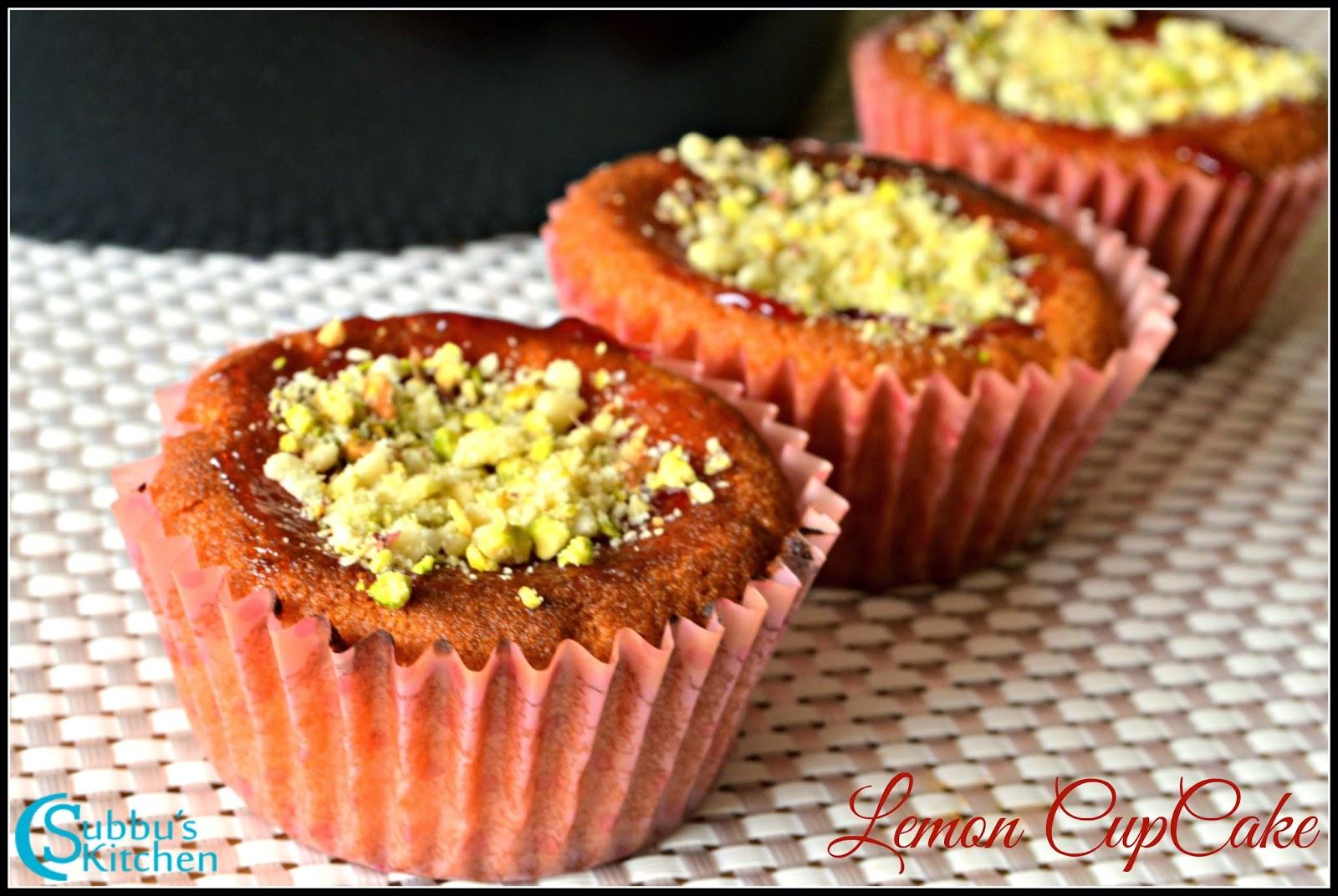 Eggless Lemon Pistachio Cup Cake Recipe