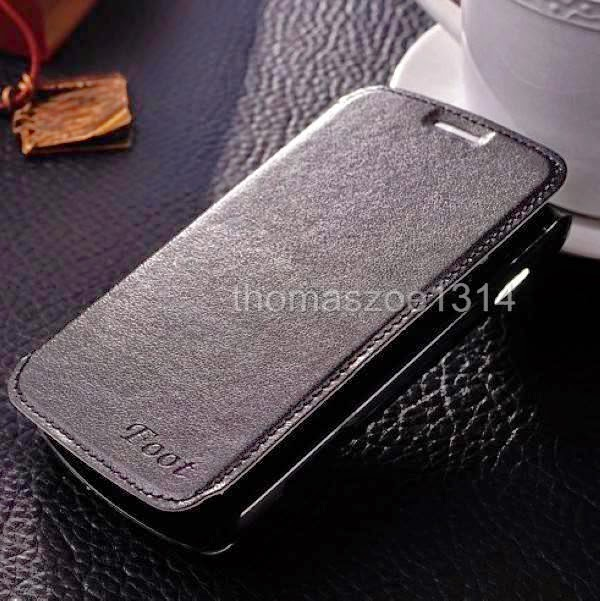 Black Leather Case Cover Bag For Samsung Galaxy Trend S7560 S Duos 2 S7582 S7580