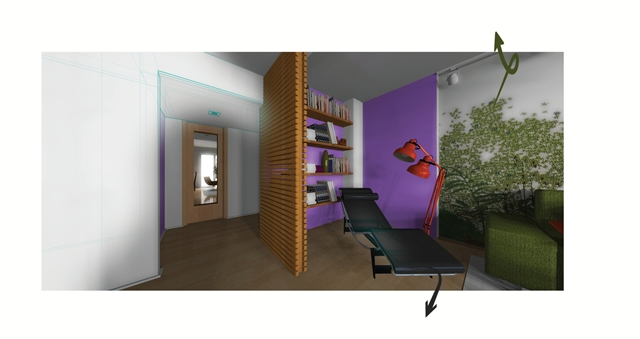 Illustration showing reading corner of living room coming out from a drawing