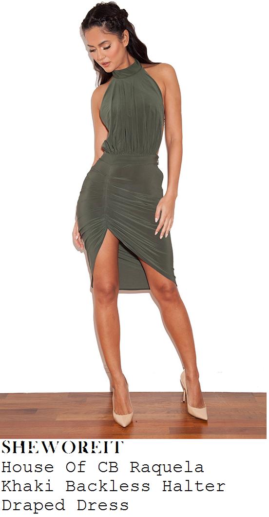 rumer-willis-khaki-green-sleeveless-halter-draped-asymmetric-dress