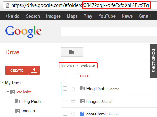 Google Drive - copy folder id