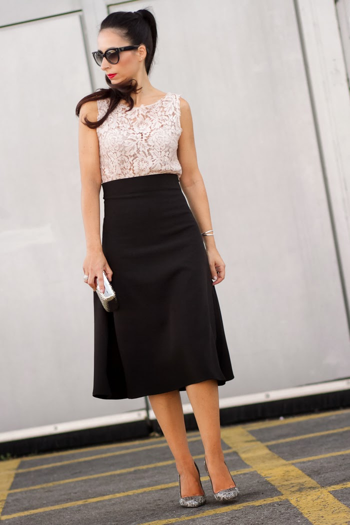 Black midi skirt and pink lace top