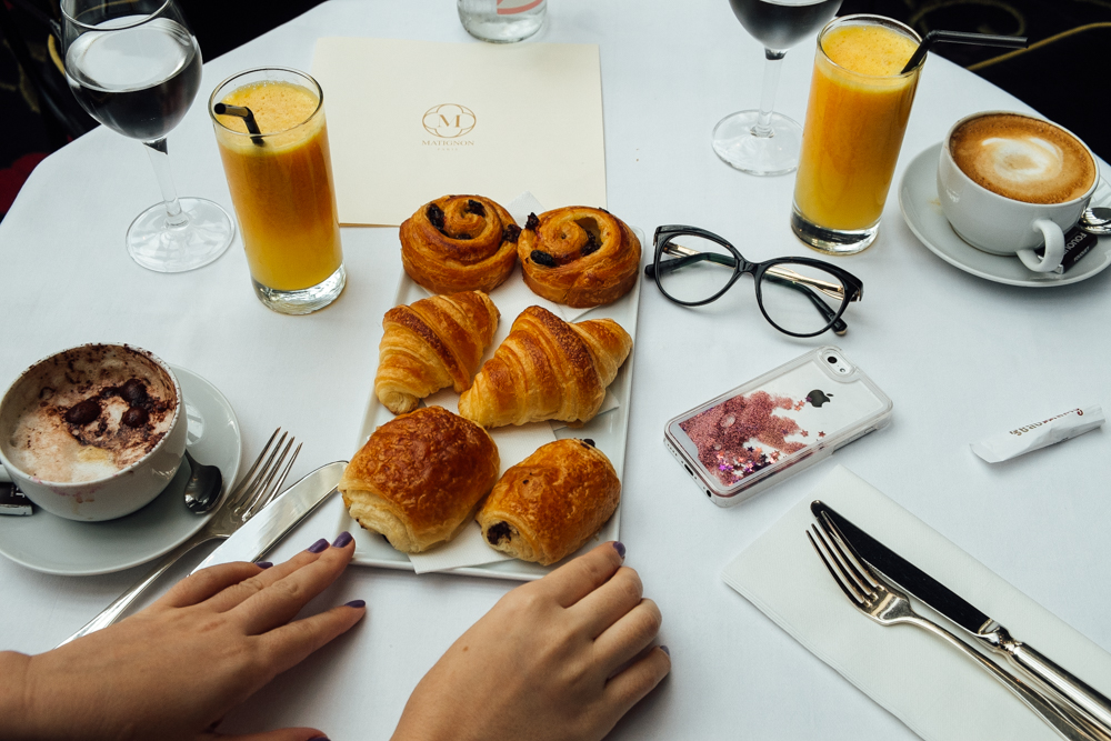 Traditional parisian breakfast