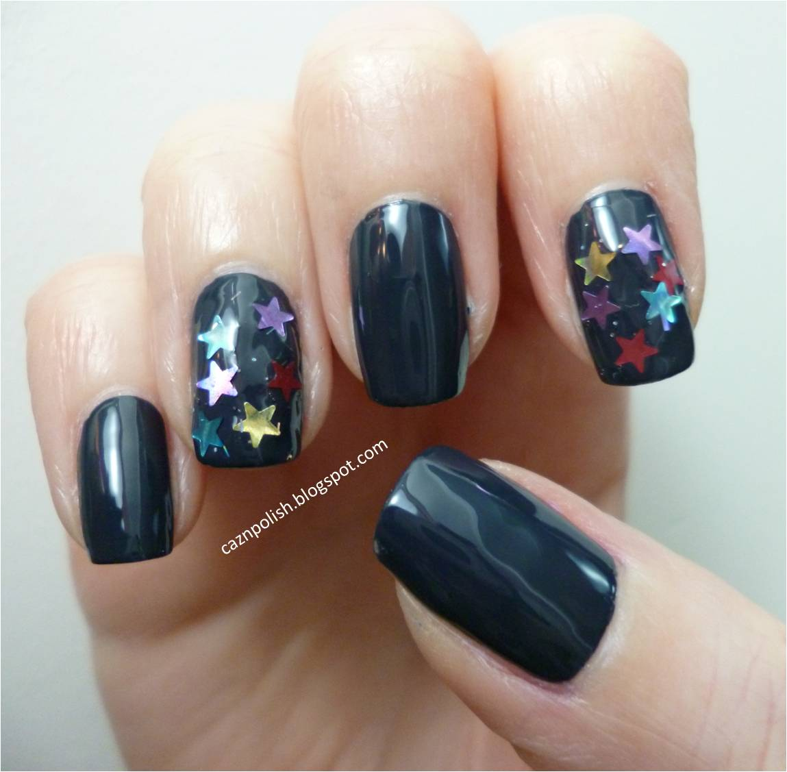 caz 'n' polish | Starry Top Coat Nails