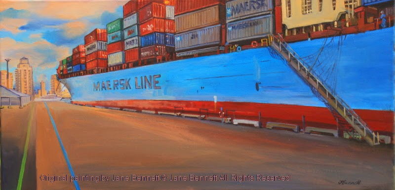 container ship 'Maersk Gateshead' at Barangaroo oil painting by artist Jane Bennett
