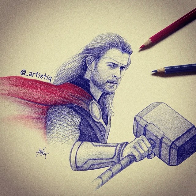21-Thor-Cas-_artistiq-Colored-Celebrity-and-Cartoon-Drawings-www-designstack-co