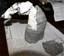 building a clay horse sculpture with no armature