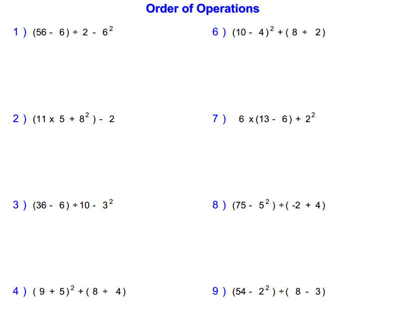 Pemdas Math Worksheets math order of operations worksheets using – Parentheses Math Worksheets