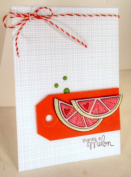 Thanks a Melon Card by Stephanie Muzzulin | Sweet Summer stamp set by Newton's Nook Designs