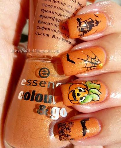 оранжев маникюр с печат за Хелоуин