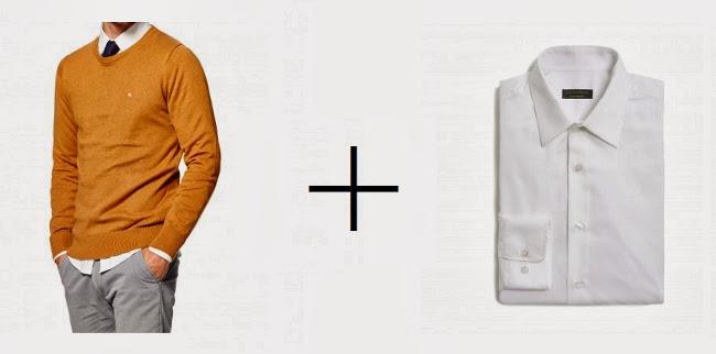 jersey cuello caja color mostaza y camisa vestir blanca