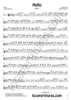 1  Hello by Adele Partitura de Viola Sheet Music for Viola en clave de do Music Scores