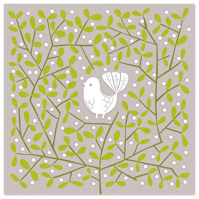 illustration of white dove in decorative bush of mistletoe