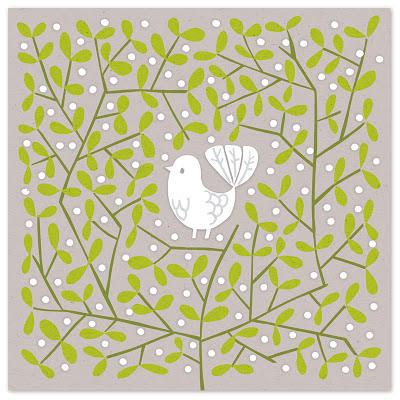 illustration of white dove in decorative bush of mistletoe