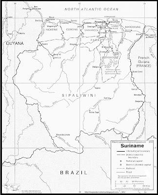 Mapa de los ríos más importantes de SURINAM, blanco y negro