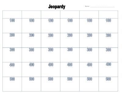 Crafty image with jeopardy game board printable