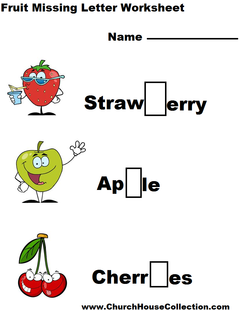 math worksheet : church house collection blog kindergarten printable fruit missing  : Kindergarten Spelling Worksheets