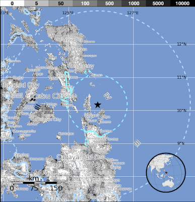 Epicentro sismo 6,1 grados en Filipinas, 3 de Julio 2015