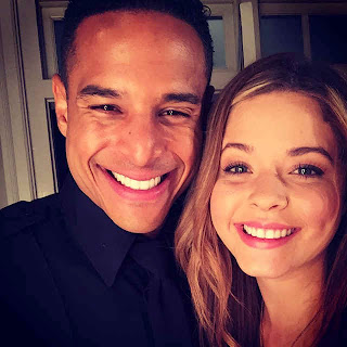 Sasha Pieterse and Travis Winfrey BTS PLL