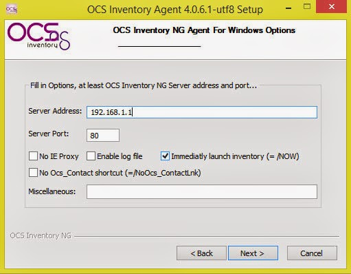 Choose start menu folder, ocs inventory ng\\agent deployement tool by default, and click install button