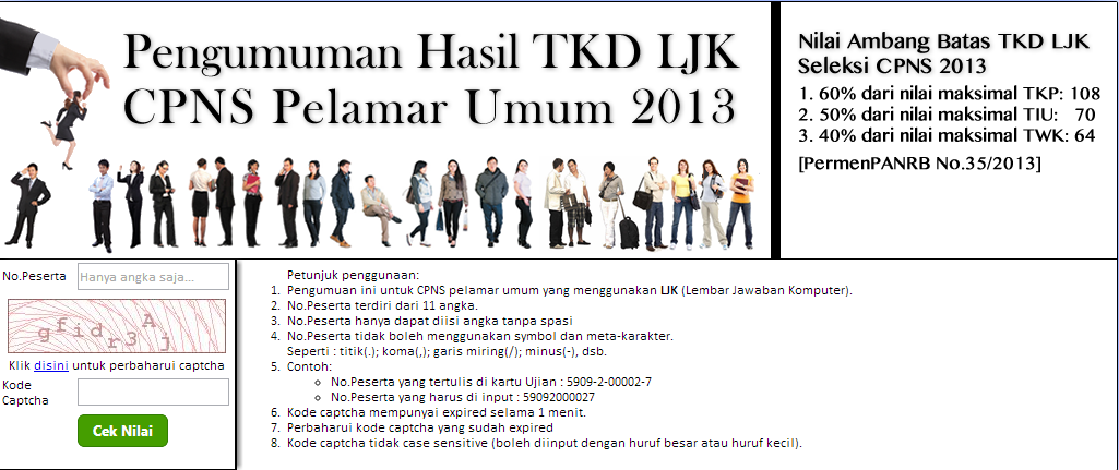 Share To You Link Website Terkait Pengumuman Hasil Tes Cpns 2013