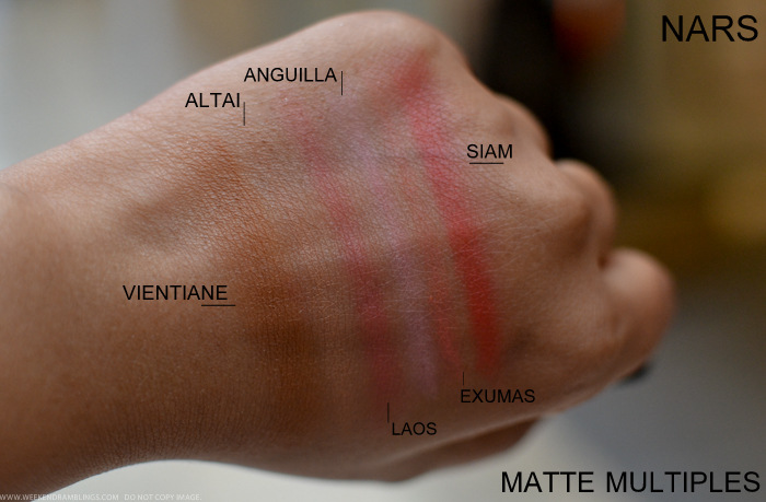 NARS Matte Multiples Swatches Siam Exumas Laos Anguilla Altai Vientiane Photos Makeup Beauty Indian Darker Skin blog