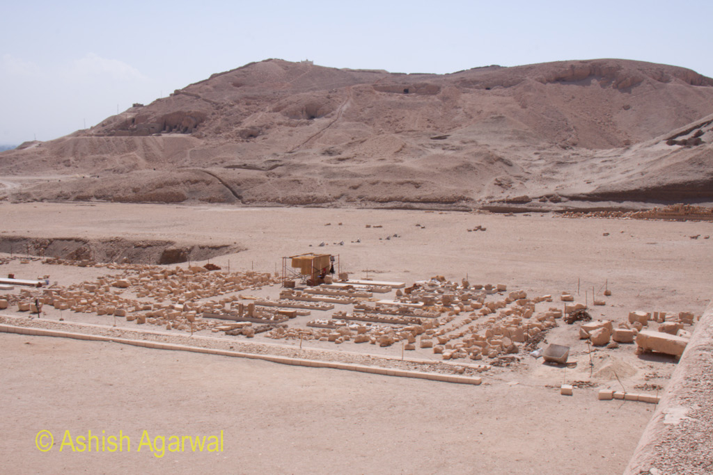 View of a section of the Queen Hatshepsut temple where reconstruction artifacts are present